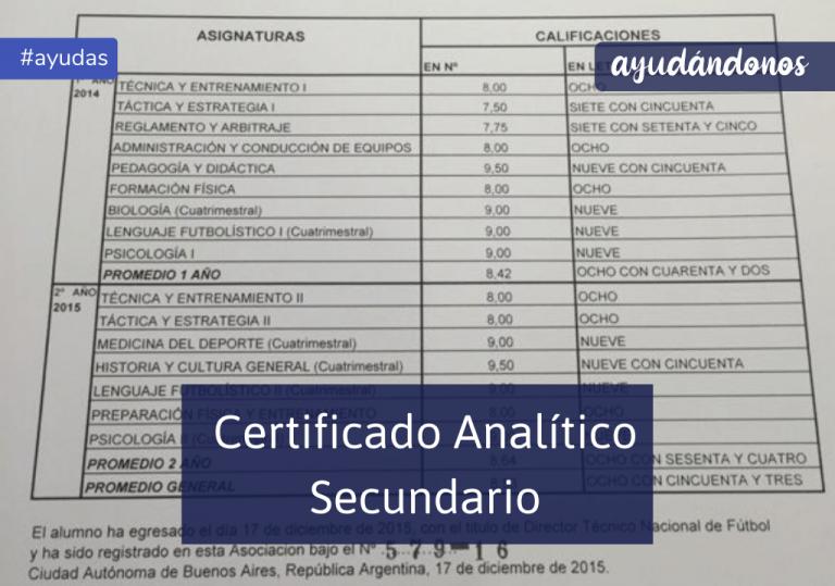 certificado analítico