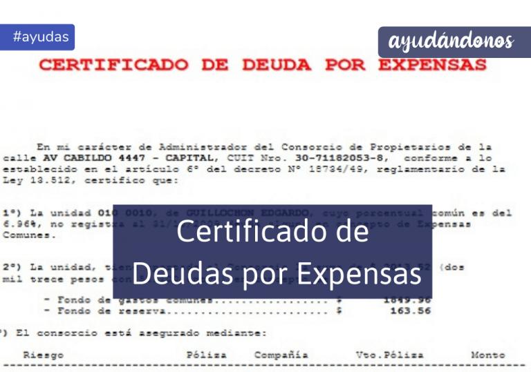Certificado de Deudas por Expensas