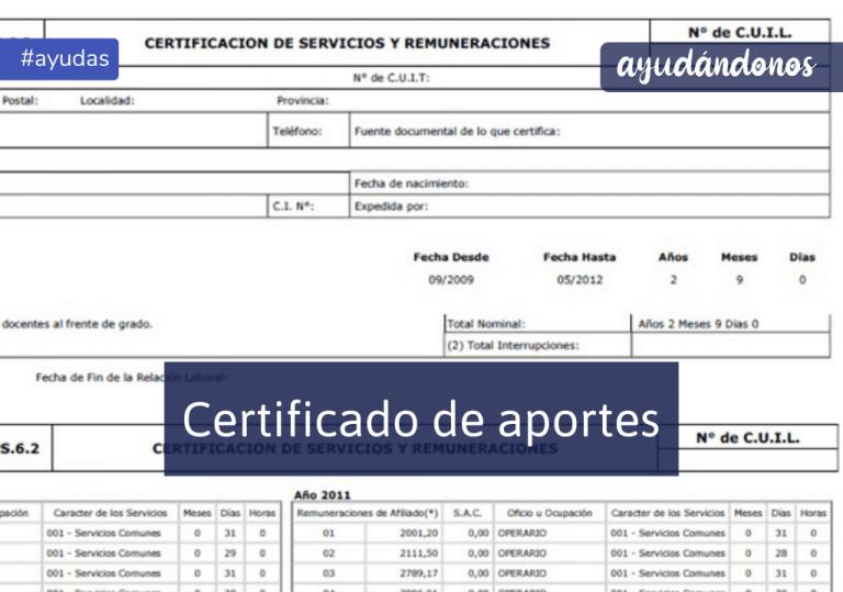 Certificado de Aportes