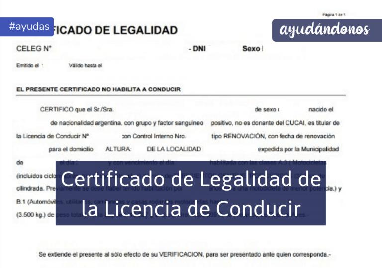 Certificado de licencia conducir