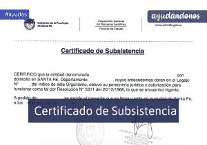 certificado de subsistencia