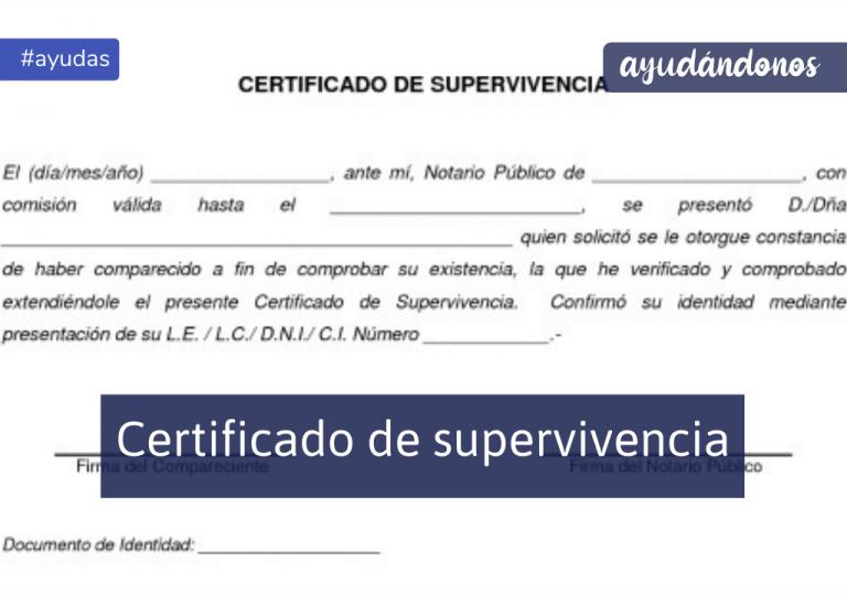 Certificado de supervivencia