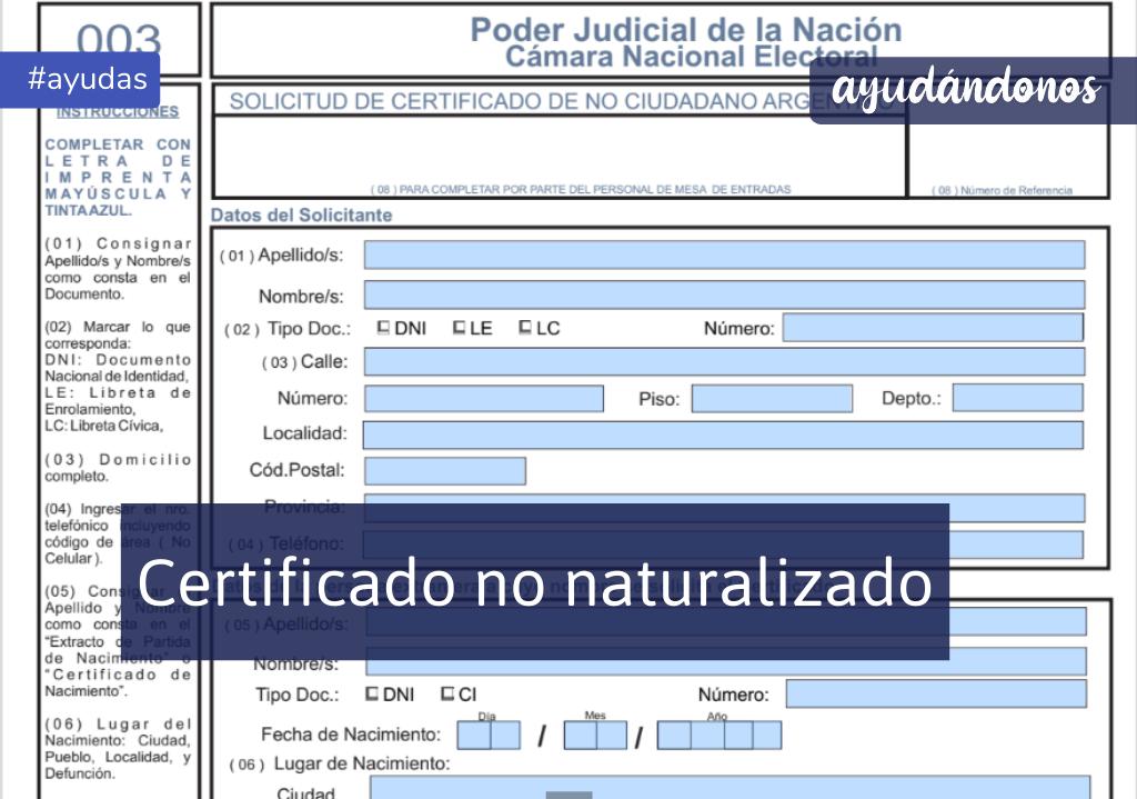 Certificado no naturalizado