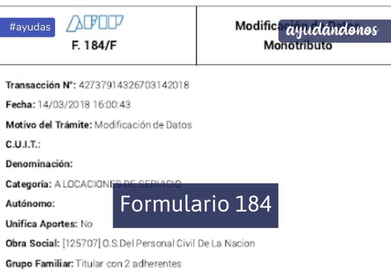 formulario 184