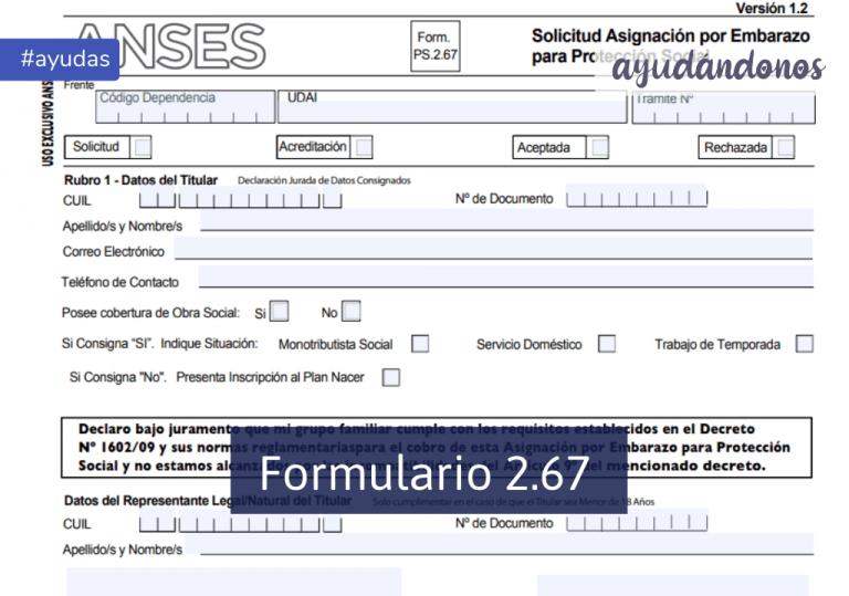 Formulario 2.67 Asignación por Embarazo