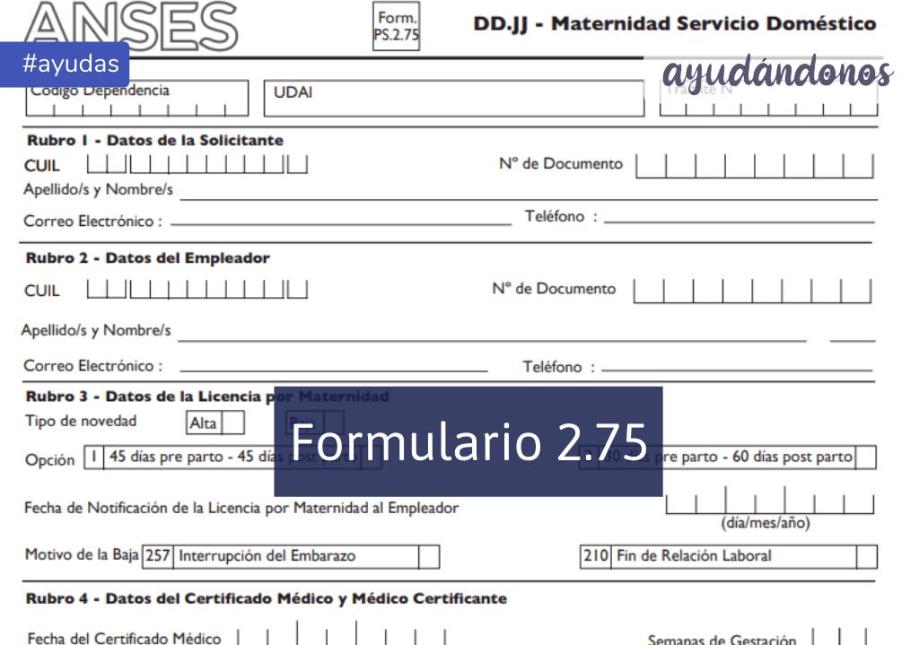 Formulario 2.75 ANSES