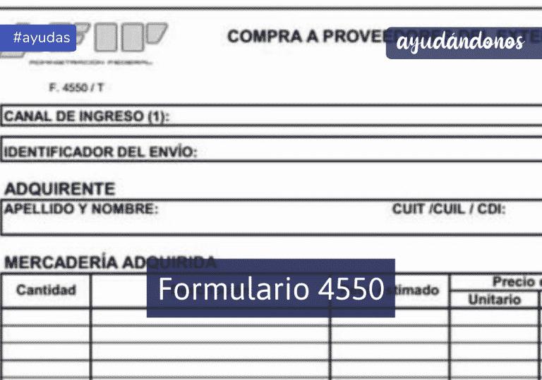 Formulario 4550 correo argentino