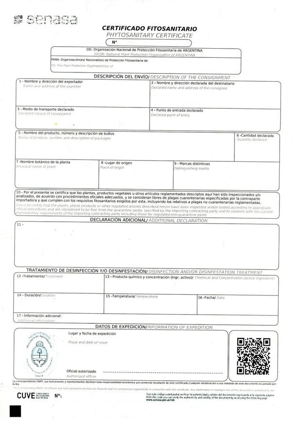 Modelo de certificado fitosanitario