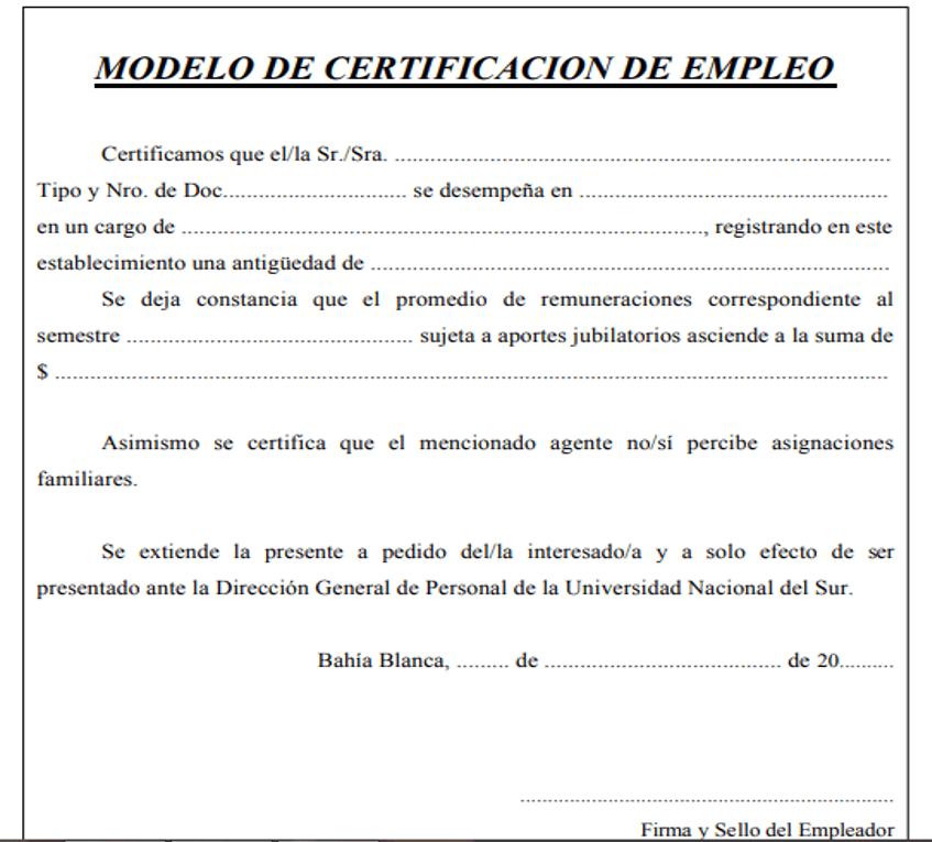 Modelo simple certificado de trabajo