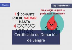 certificado de donación de sangre